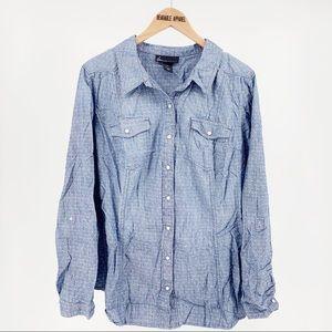 Lane Bryant Chambray Printed Snap Front Shirt Top